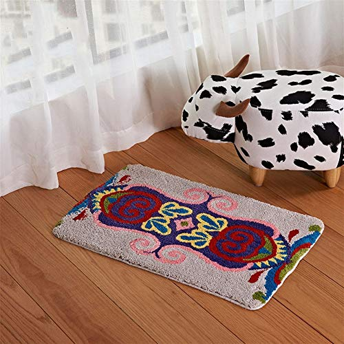 AIHU Mikrofaser-Jacquard-Tufting-Teppichboden rutschfeste Matten Bad Wohnzimmer, Flur, Schlafzimmer, Arbeitszimmer, Badezimmer (Size : 40×60cm)