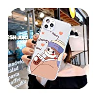 かわいい漫画のミルクティーキャットソフトTPU電話ケースFor iPhone 7 8 6 6S Plus 12pro 11Pro max XS Max XR SE 12miniラベルバーコードカバー-T1206-For iphone 12