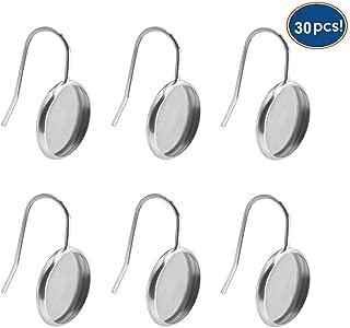 LANBEIDE Stainless Steel Earring Wire Hooks Bezel Blanks Setting Trays Fit 12mm Glass Cabochon Druzy for Jewelry Making 30PCS Silver