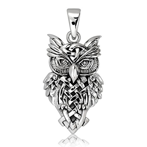 WithLoveSilver Solid 925 Sterling Silver Celtic Trinity Owl Pendant