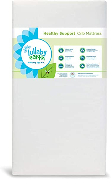 Lullaby Earth Non Toxic Crib Mattress Waterproof Fits Standard Baby And Toddler Bed White