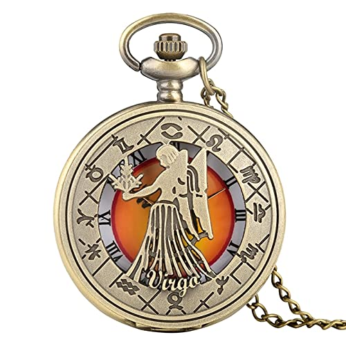 SSJIA Reloj de Bolsillo con patrón de Zodiaco Retro, Collar, Cadena, Cobre, Doce Constelaciones, Colgante, Reloj-Virgo