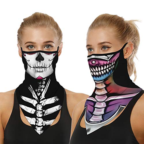Elife 2 PCS Halloween Face Covering, Funny Face Masks, Balaclava Face Scarf, Multifunctional Headwear Neck Gaiter,3D Mask for Fancy Dress Halloween Party, Outdoor Camping, Running, Motorcycling.