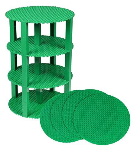 Strictly Briks Pack de 4 Bases Redondas con 30 Ladrillos separadores 2 x 2 - Apilables - Compatible con Todas Las Marcas - 20,32 cm de diámetro - Verde