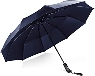 Automatic Folding Umbrella Household Umbrella Men's and Women's Rain and Rain Umbrellas Large Weatherproof Umbrellas HYBKY (Color : Blue)