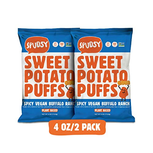 Spudsy Sweet Potato Puffs | Vegan, Gluten Free Snacks | Plant-Based, Allergen-free, Non-GMO, Kosher, Superfood Snack | Spicy Vegan Buffalo Ranch (2 Pack, 4 oz Bags)