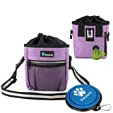 PetAmi Dog Treat Pouch | Dog Training Pouch Bag with Waist Shoulder Strap, Poop Bag Dispenser and Collapsible Bowl | Treat Training Bag for Treats, Kibbles, Pet Toys | 3 Ways to Wear (Purple)