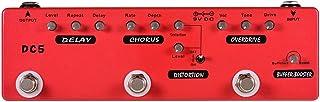 SHYPT Délai de pédale Multi-Effets Multi-Effets de Guitare DC5 6 en 1 + Chorus + Distorsion + Overdrive + Booster + Tampon...