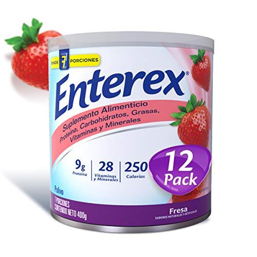 Enterex Polvo Fresa, caja con 12 latas de 400g cada una. Suplemento Alimenticio...