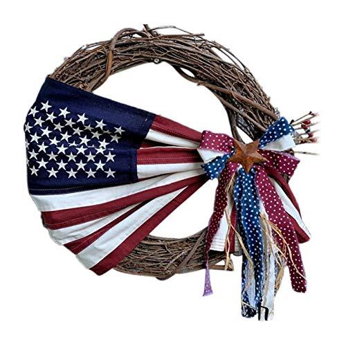 Tengan Día De La Independencia Decoración Guirnaldas, Decoración De Vacaciones Garland Colgando Adornos Patrióticos Hechos A Mano Adornos De Corona Patriótica Cuarto De Julio Regalos para El E