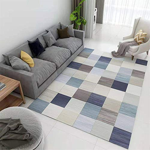 CCTYJ Gris Azul marrón geométrico patrón de celosía Tradicional Durable Mesa de café Estudio Oficina decoración alfombra-120x160cm Calidad Precio relación demás Limpiar salón
