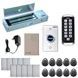 Visionis FPC-5644 One Door Access Control System Outswing Door 1200lbs Magnetic Lock with VIS-3005 Slim Outdoor IP68 RFID Keypad Entry Security EM Standalone 2000 Users Kit