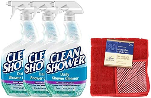 Clean Shower Value Bundle Pack, Scrub Free Daily Shower Cleaner 32oz. Spray Bottle [Pack of 3] & Microfiber Scrubbers [Pack of 2 - colors may vary]