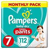 Pampers Baby-Dry Culotte à couches Taille 7 Économie mensuelle 112 couches 17 + kg