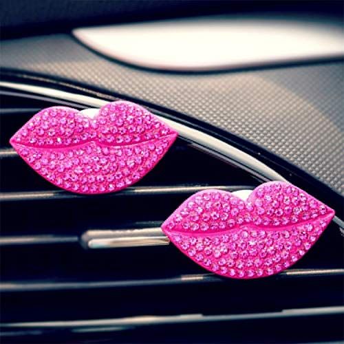 CALISTOUK Auto Lufterfrischer Diffuser Clip Parfüm Clip Lippen Aromatherapie Lufterfrischer Kleiner Luftreiniger, Rose