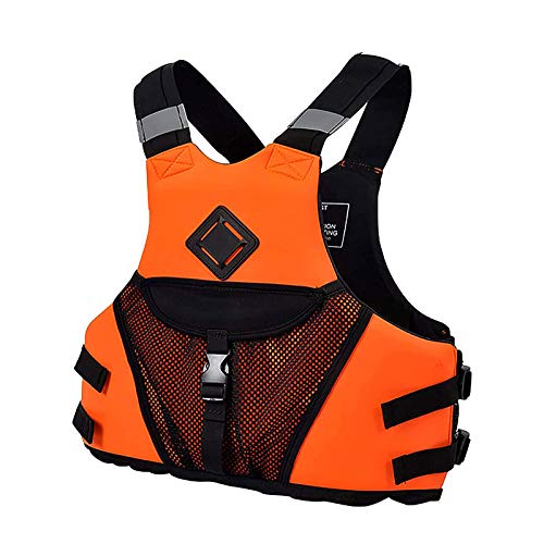 WANGP Chaleco Salvavidas Auxiliar de Natación, Chalecos Salvavidas Adultos Unisex Chaleco Salvavidas Reflectante Ajustable para Buceo,Kayak,Paddle Surf,Orange-L
