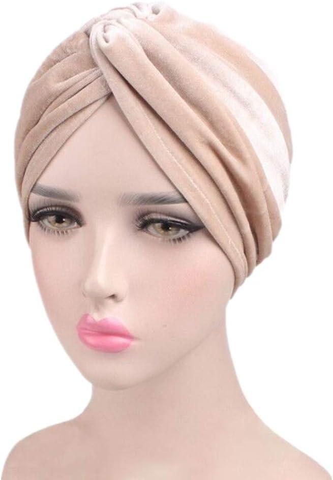 1940s Hair Snoods- Buy, Knit, Crochet or Sew a Snood Fxhixiy Womens Stretch Velvet Twist Pleasted Hair Wrap Turban Hat Cancer Chemo Beanie Cap Headwear  AT vintagedancer.com