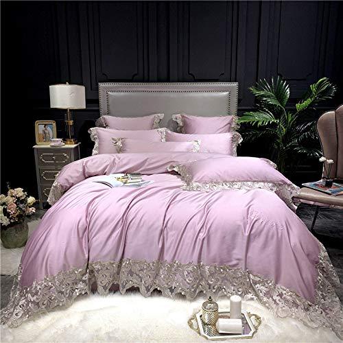 Bettwäsche Set,Amerikanische Licht Luxus Spitzen Baumwolle Rosa Bettwäsche Four-Piece Satz Home Textile Bettbezug Bettbezug Und Kopfkissenbezug, 2,0 M