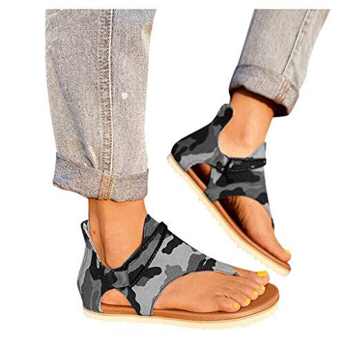 Read About Duinzusyful Women's Summer Flat Sandals Comfy Flip Flops Gladiator Camouflage Pattern Sli...