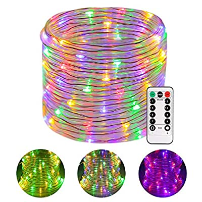GreenClick LED Rope Lights, Battery Operated Christmas String Lights Waterproof 46ft 120 LED Remote Timer 8 Mode Dimmable Battery Fairy Lights for Outdoor Indoor Christmas Decoration Multi-Color