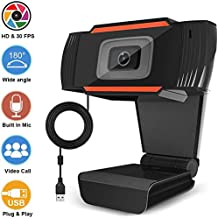 Webcams, 1080P HD Webcam with Dual Microphones, Webcam for Gaming Conferencing, Laptop or Desktop Webcam, USB Computer Camera, Free-Driver Installation Fast Autofocus (Black)