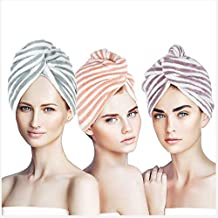 3 Pack Microfiber Hair Towel Wrap for Women, Super Absorbent Bath Hair Dry Turban with Buttons- Quick Drying & Anti Frizz ...