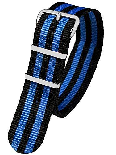 Pacific Time First Wechsel Armband Durchzugsband Uhrenarmband Ersatz Band Textil Dornschließe Sport schwarz blau gestreift 10040