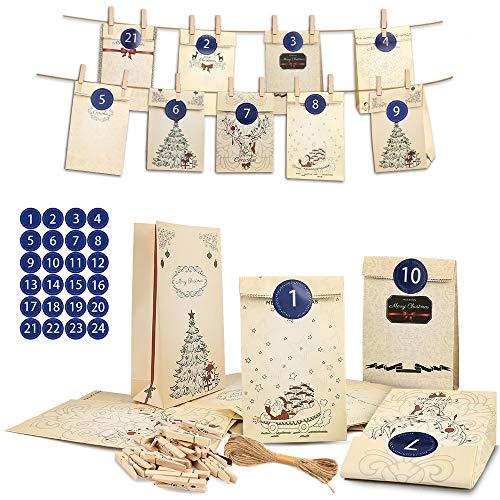 Nasharia 24 Stück Adventskalender zum Befüllen - Weihnachtskalender Papiertüten, 1-24 Zahlenaufklebern, Jute Kordel, 24 Wäscheklammern, 24 Adventskalender Tüten, Wiederverwendbar