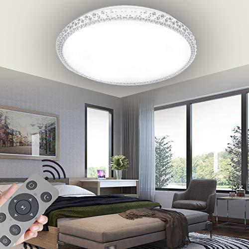 48W Lámpara de techo LED de regulable, lámpara de techo de cristal estrellado para salón, sala de estar, cocina, oficina,regulable (3000-6500K) con control remoto (48)