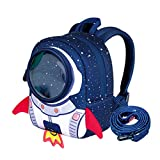 NANAHouse Toddlers Baby Anti-Lost Lovely 3D Cartoon Rocket Lightweight Backpack (Large Blue)