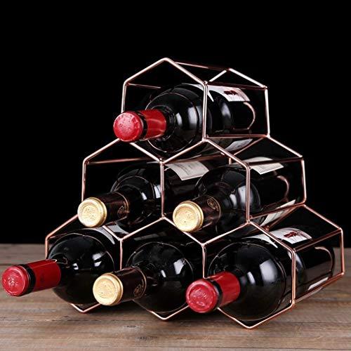 YWYW Estante para Vino Estante para Vino con múltiples Botellas Estante para exhibición Estante para Vino de Hierro Forjado Decoración Estante para Vino apilable de Estilo Europeo (Color: C)