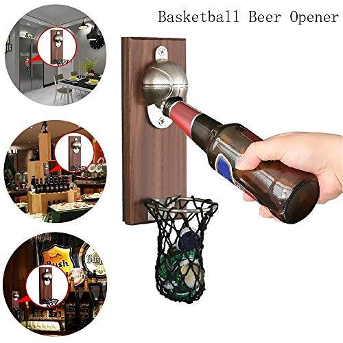 KGIDK Abrebotellas de Cerveza de Baloncesto, Tapa de Botella montada en la Pared con Red, Abrebotellas de Pasta de refrigerador magnético para Barra de Dormitorio Familiar Oficina