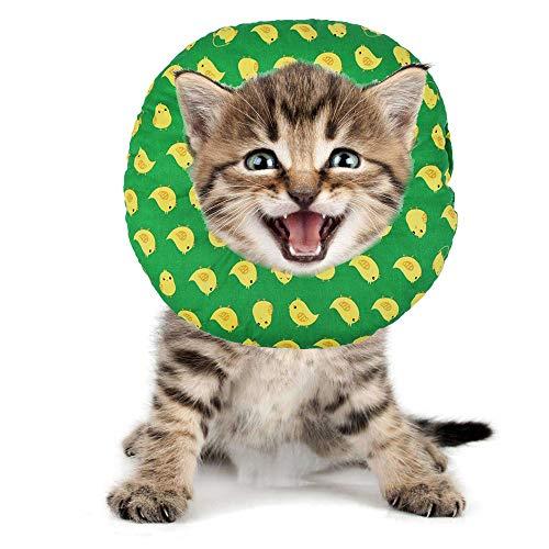 BVAGSS Haustier Halsband Einstellbarer schützender Rutschfester Baumwollring Protective E-Collar für Katze und Hund XH004 (S, Green Chicken)
