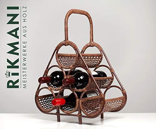 Stylischer Weinregal - Deko Weinständer - handgemacht kreativ - Weinregal - Weinregallager - Flaschenregal - Weinliebhaber - Flaschenhalter - Wein Regal - Deko (Rattan Dunkelbraun)