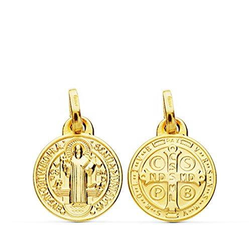 Colgante Escapulario San Benito Monje Oro Amarillo 18 Kilates Medalla 12mm