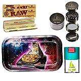 THE BOAT Kit para Fumar - Bandeja para Liar Gato DJ 27cm x 16cm + Raw Organic Connoisseur Kings Size (3 Unidades) + Bote hermético antiolor + Grinder metálico 4 Partes con rascador.