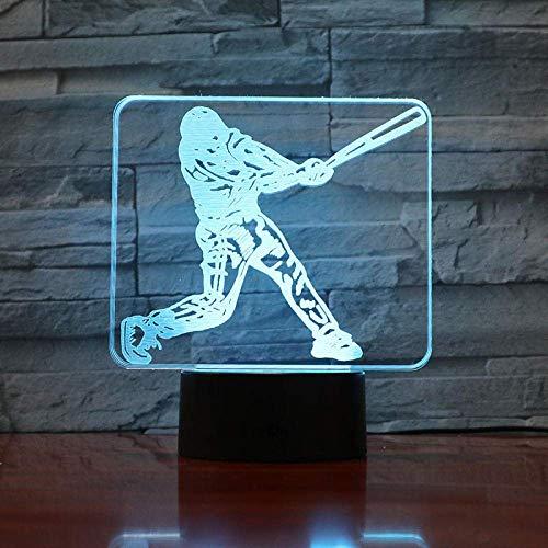 Baseball-Spieler-Action-Figur 3D Führte Nachtlicht, Usb-Kind-Kind-Geschenk-Baby-Beste Ventilator-Geschenk-Sport-Schreibtisch-Lampe, Nachttischlampe