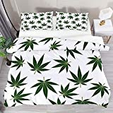 Funda de edredón King Green Cannabis Hojas de marihuana 3pcs Juego de funda de edredón Funda de edredón Funda de edredón 2 fundas de almohada 1 funda de edredón