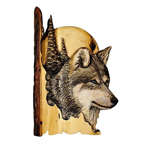 QIUQIAN Arte de pared de madera retro salvaje, decoración de pared de animales en el bosque, colgante para sala de estar, dormitorio, baño interior y exterior