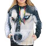 N/A Sudadera con Capucha para Mujer y niña, con cordón, Mujer, Divertidos Perros Husky siberianos, Small