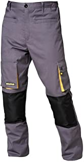 Wolfpack 15017090 Pantalon de Trabajo Gris/Amarillo Largo
