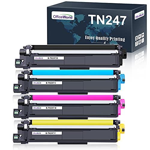 OfficeWorld Toner TN-247 TN-243 - Cartuchos de tóner para Brother TN247 TN243 para Brother MFC-L3730CDN MFC-L3750CDW MFC-L3710CW DCP-L3550CDW DCP-L3510CDW HL-L3210CW HL-L3270CDW HL-L3230CDW