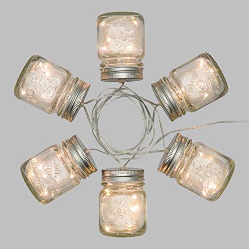 LuminalPark Guirlande à Piles 1,5 m, 6 Pots en Verre Ø 60 x H 80 mm, 30 microled Blanc Chaud, câble Transparent
