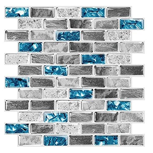 BTSEURY Pegatinas para azulejos 3D autoadhesivas, antiaceite, impermeables, para azulejos de inodoro, papel pintado extraíble, para sala de estar, dormitorio, decoración de pared