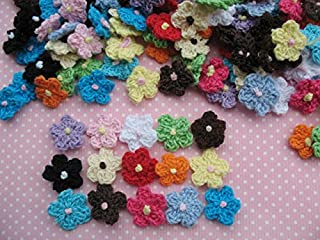 YYCRAFT Pack Of 100 Crochet Small Daisy Fabric Satin Craft Sewing Appliques DIY Diameter 16mm Flower Mixed Assorted color