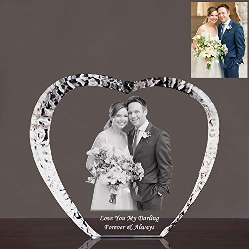 Qianruna Custom Personalized 2D Laser Engraving Etched Photo Crystal Glass Picture Heart Iceberg for Birthday,Anniversary,Valentine's Gifts (Medium)