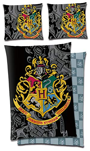 BERONAGE Harry Potter Children's Bed Linen Black Mirror 135 x 200 + 80 x 80 cm 100% Cotton Lawn Quality HP Slytherin Draco Gryffindor Hufflepuff Ravenclaw Ron Hermine Hogwarts German Size