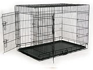 Royal Pet Dog Rabbit Cage 49 Inch Iron & Plastic Material Wheel Cage with Removable Tray (Black)