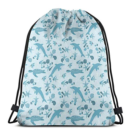 Drawstring Shoulder Backpack Travel Daypack Gym Bag Sport Yoga, Dotted Starfishes and Seashells Bubbles Turtles Cute Dolphins Aquarium,5 Liter Capacity,Adjustable.