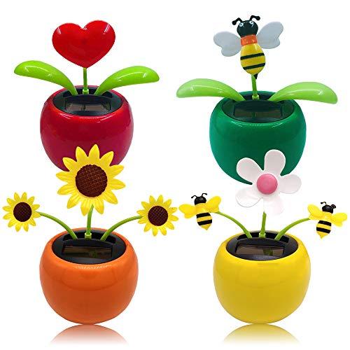 Chingde Flor de Baile Solar, 4 Piezas Flores de Baile solares de plástico Adornos de Coche con Cabeza Sacudida Juguete de Coche con energía Solar para decoración de Escritorio de Oficina de Coche